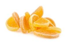 geléer för datalista för bakgrundsgodisar göra gelé av citrus isolerade frukt vita lobules Royaltyfri Foto