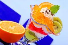 Geléia com creme e frutas Imagens de Stock Royalty Free