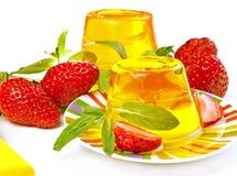 Geléia e morango amarelas imagem de stock royalty free