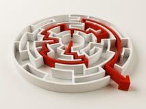 Gelöstes Labyrinthpuzzlespiel Stockfotos