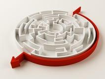 Gelöstes Labyrinthpuzzlespiel Stockfoto