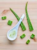 Gel alternativo di vera dell'aloe di cura di pelle in cucchiai di legno con aloe Fotografia Stock