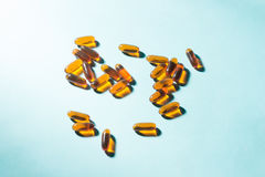 Gel Capsules.  Vitamin A, E, fish oil, primrose oil, rice barn o. Il and other oily drugs Stock Images