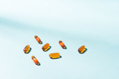 Gel Capsules.  Vitamin A, E, fish oil, primrose oil, rice barn o. Il and other oily drugs Royalty Free Stock Photos
