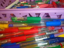 Gel colored pens on the counter in the store stock photo