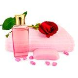 Gel de douche avec du savon et une rose photos libres de droits