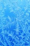 Gel de glace d'hiver, fond congelé textur givré de verre de fenêtre Photos libres de droits