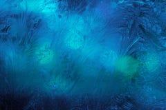 Gel de glace d'hiver, fond congelé textur givré de verre de fenêtre Image stock