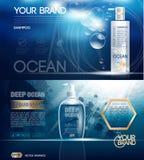 Gel de la ducha del azul de océano del vector de Digitaces stock de ilustración