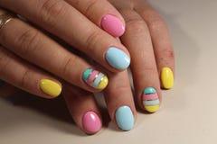 Gel delicado do verniz para as unhas do projeto do tratamento de mãos Imagem de Stock
