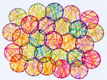 Colorful circles. A gel drawing of a set of colorful circles on a white background Royalty Free Stock Photography