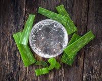 Gel fresco di vera dell'aloe in ciotola sulla tavola di legno Immagine Stock Libera da Diritti