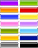 Gel or Glass Rectangle Buttons. Set of professionally designed rounded rectangular buttons in various color choices in Gel or Glass style Stock Images