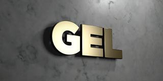 Gel - Gold sign mounted on glossy marble wall  - 3D rendered royalty free stock illustration Stock Photo
