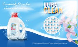 Gel laundry detergent advertising template with flower or floral border. Vector illustration. vector illustration