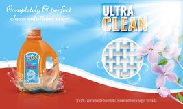 Gel laundry detergent advertising template with flower or floral border. Vector illustration. royalty free illustration