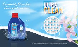 Gel laundry detergent advertising template with flower or floral border. Vector illustration. stock illustration