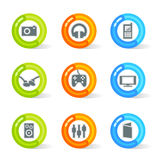 Gel Media Icons (vector). Stylish colorful gel Icons with media symbols; easy edit layered files Stock Photo