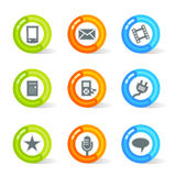 Gel Media Icons (vector). Stylish colorful gel Icons with media symbols; easy edit layered files Stock Image