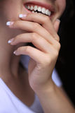 Gel nails. Beatiful woman with gel nails, Healthy hands, smile Stock Images