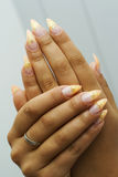 Gel nails with design. Royalty Free Stock Image
