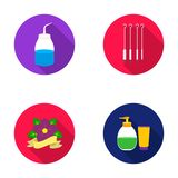 Gel, needles and other equipment. Tattoo set collection icons in flat style vector symbol stock illustration web. Royalty Free Stock Photo