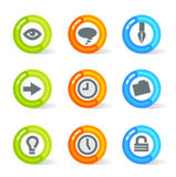 Gel Office Icons (vector). Stylish colorful gel Icons with office symbols; easy edit layered files Stock Photos