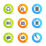 Gel Office Icons (vector). Stylish colorful gel Icons with office symbols; easy edit layered files Royalty Free Stock Photo