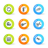 Gel Office Icons (vector). Stylish colorful gel Icons with office symbols; easy edit layered files Royalty Free Stock Image
