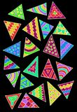 Gel pen drawing with colorful triangles. A hand gel pen drawing of lots of colorful triangles on a black background Royalty Free Stock Images