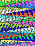 Bright colourful hand drawn zigzag pattern. Royalty Free Stock Photo