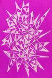 Gel pen drawing with spiky abstract shapes. An abstract spiky gel pen drawing on a mauve paper background Royalty Free Stock Image