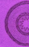 Hand drawn semi circle with dots and lines. A gel pen hand drawn semicircle sketched with lines and dots on mauve card royalty free stock photo