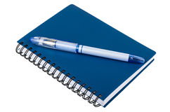 Gel pen on notepad isolated on white Royalty Free Stock Photos
