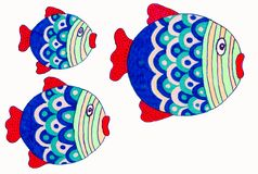 Drawing of cute little fish. royalty free stock image
