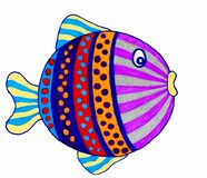 Drawing of cute little fish. vector illustration