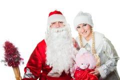 Gel russe de père et fille de neige Images stock