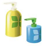 Gel-, Schaum-oder flüssige Seifen-Zufuhr-Pumpen-Plastikflasche Bereiten Sie für Ihre Auslegung vor Abbildung 3d, auf weißem Hinte Lizenzfreie Stockbilder