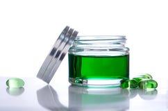 Gel verde del tarro Imagen de archivo libre de regalías