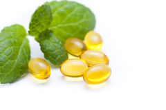 Gel vitamin capsules Royalty Free Stock Images