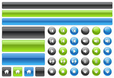 Gel web buttons & music controls icons. Buttons, Signs and Shadows in different layers