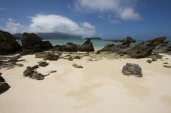 Gelaagd calcarenite bij Lagunestrand Lord Howe Island stock fotografie