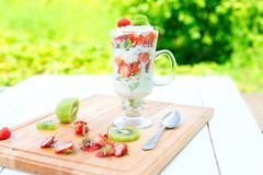 Gelaagd dessert met framboos, aardbei, zwarte bes en kiwi, room en koekjes in glazen royalty-vrije stock foto