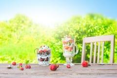 Gelaagd dessert met framboos, aardbei, zwarte bes en kiwi, room en koekjes in glazen stock foto