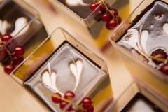 Gelaagd dessert met vruchten, noten en roomkaas stock fotografie
