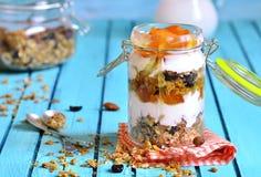 Gelaagd dessert van granola, yoghurt, dadelpruim en honing stock foto's