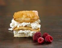 Gelaagd gebakken dessert met kwarkroom stock foto's