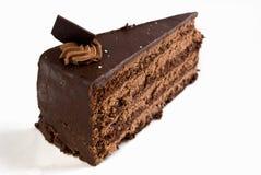Gelaagde chocoladecake met ganache en room Royalty-vrije Stock Foto