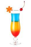 Gelaagde tropische cocktail met decoratie royalty-vrije stock fotografie