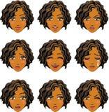 Gelaatsuitdrukking van vrouw (Afrikaanse Afdaling) royalty-vrije illustratie